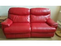 As new red leather reclining 3 seater sofa, 2 seater sofa and storage foot stool