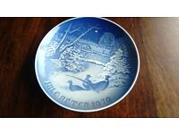 Pheasants in the snow collectors plate