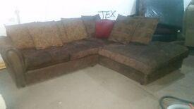 Lovely brown chenille corner sofa