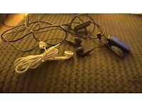 Unused Apple earphones, generic earphones and O2 bluetooth ear pierce