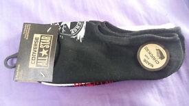 NEW Converse All-Star 3 pack ladies' sports / trainer socks - black/white/star pattern