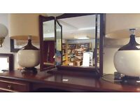 Pair Of Vintage Ceramic Table Lamps With Drum Shades