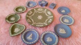 Wedgewood Jasperware collection 16 pieces blue and green