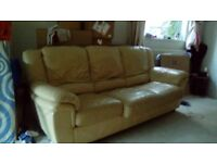 3 Seater leather sofa bed.