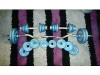 53kg of Body Sculpture metal weight plates and bars