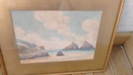 SEASCAPE AND BEACH SCENE WATERCOLOUR BY A C PINKERTON In VGC - SIGNED