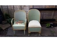 Vintage 2x Green Lloyd Loom style chairs - DELIVERY AVAILABLE