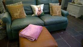 Parker Knoll Leather Harrogate 2-3 Seater Sofa Vintage
