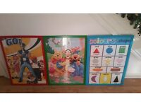 3x childrens framed posters