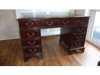 Dark wood PARTNERS DESK needs some tlc, easy project, me thinks!