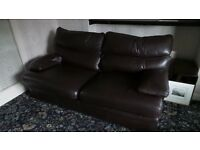 3 piece brown leather suite, large sette and 2 armchairs