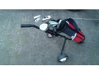 Childrens bag trolly and clubs