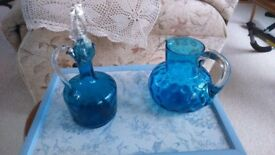 Dimple glass decanter and glass jug