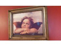 CHERUB PRINT IN LOVELY FRAME, SEE ALL PICS AS SELLING MY HOUSE CONTENTS DUE TO MOVING