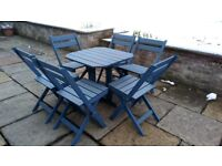 IKEA blue stained wood garden furniture