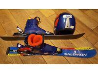 Salomon streetracer grom 80cm skis, boots, helmet