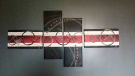 Large Red and Black Abstract Canvas
