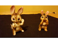 Set of 2 charming antique bunny ornaments