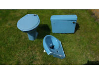 Ideal Standard Retro Blue Low Level WC and Corner Basin with Taps