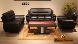 SUMMER SALE LIMITED STOCK 3PCS BONDED  LEATHER SOFA SET $629 LOWEST PRICE JUST A FEW SET LEFT