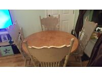 Shabby Chic Wooden table and 4 chairs.