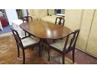 Beautiful Regency Pedestal Drop Leaf Dining Table & 4 Chairs