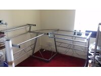 Glass top corner desk with sliding keyboard shelf . 1.5m (on ea side) x 0.6M. Collection only