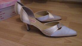 PINK Ivory Satin bridal shoes