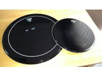 "2 x Remo drum skins used Ebony 20"" Bass & 14"" Tom"
