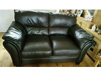 2 seater leather sofa brown