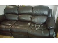 Cheap Leather reclining sofa works well