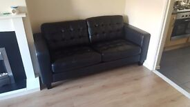 3 seater black leather sofa brand new