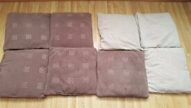 Set of 8 cushions beige and chocolate