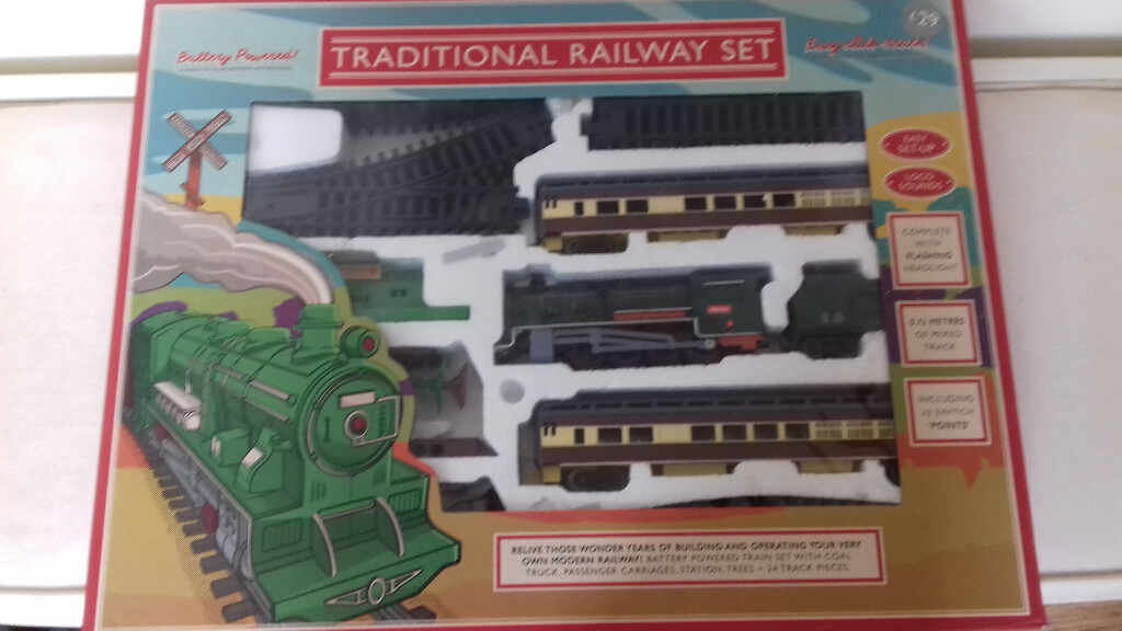 Train Set with interlocking parts. Looks like new.