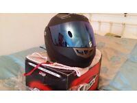 Worn once. Matt black. Flip front. Clear and iridium blue visors. Westward Ho! £25 no less.
