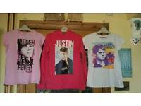 Girls Justin Bieber Official Merchandise Bundle Tops Age 9-10/10-11. Great cond