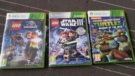 3 games Xbox 360 Lego Star Wars III Lego Jurassic World -Turtles