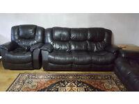 Black leather sofa set.
