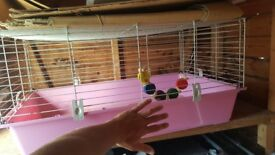 Pink bottom rabbit cage with some bits