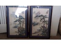 Pair of oriental silk pictures