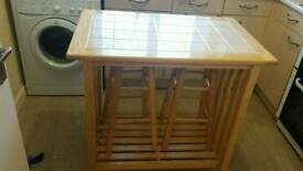 Kitchen space saver breakfast bar and stools