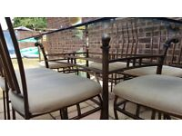 Beautiful and strong Iron dining table with 6 chairs.