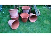 vintage 6 terracotta plant pots for planters or decoration
