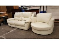 Reclining cream leather 2 seater and swivel chair