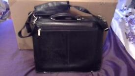 Black Leather Laptop and accessory case