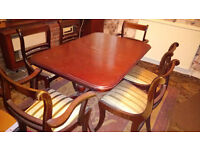 extendable dinnig table and 6 chairs