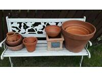 Collection of terracotta pots planters