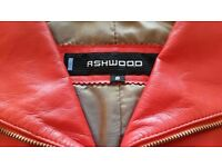"""*New ''Ashwood"""" Red Leather Belted Designer Jacket:Tailored: Biker Style/ Satin Lined. Size: Small"""