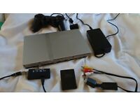 PS2 Slim silver console SCPH-70003 - with all cables and accessories