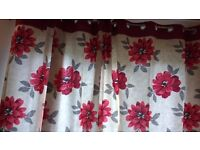 STUNNING VIBRANT POPPY EYELET CURTAINS & FOUR MATCHING CUSHION COVERS